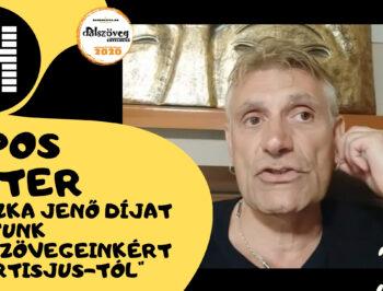 SIPOS PÉTER: Huszka Jenő díjat kaptunk dalszövegeinkért az Artisjustól